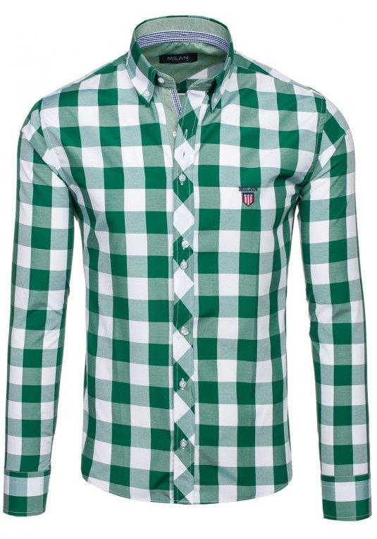 Zelená pánská kostkovaná košile s dlouhým rukávem Bolf 6888 v akci! 26cf3a793a