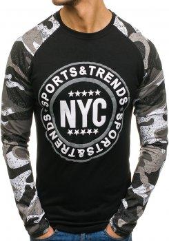 Černé pánské tričko s dlouhým rukávem a potiskem Bolf SX017 a367ec220e
