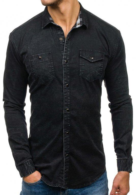 Černá pánská džínová košile s dlouhým rukávem Bolf 2050 v akci! da7e78a87f