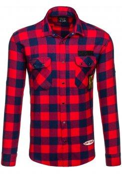 Červená pánská flanelová košile s dlouhým rukávem Bolf 2503 15508acd6a