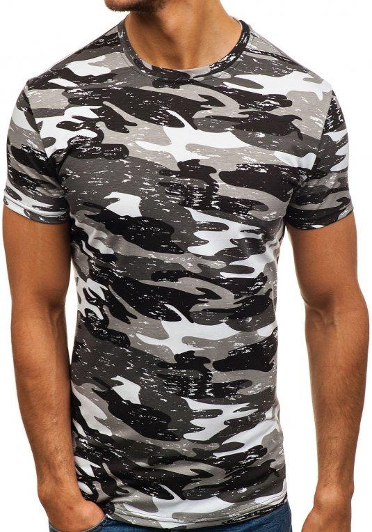 Maskáčovo-šedé pánské tričko s potiskem Bolf SS231 v akci! 5e0809f266