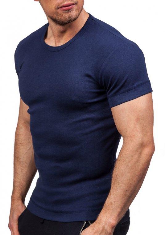 77e3397d6 Tmavě modré pánské tričko bez potisku Bolf 5038 v akci!