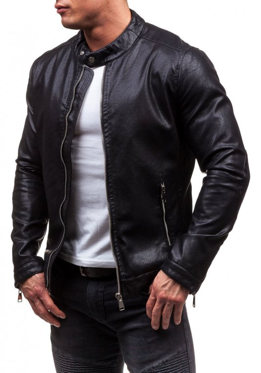 6e9ea9a117b Černá pánská kožená bunda z ekokůže Bolf D008 v akci!