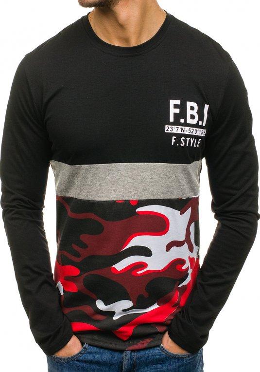 Černé pánské tričko s dlouhým rukávem a potiskem Bolf SX072 v akci! 10c83fc046