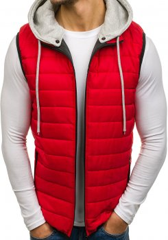Červená pánská vesta s kapucí Bolf AK90 2edb98d2dd
