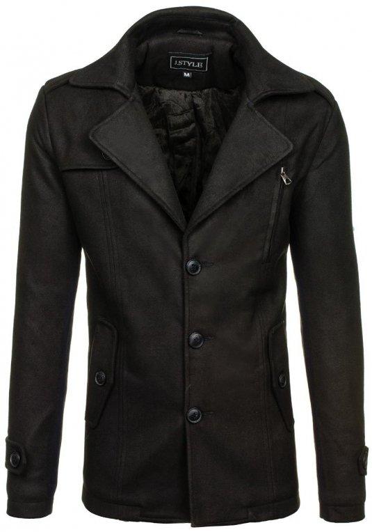 596a5f1f80e Pánský černý zimní kabát Bolf 3127 v akci!