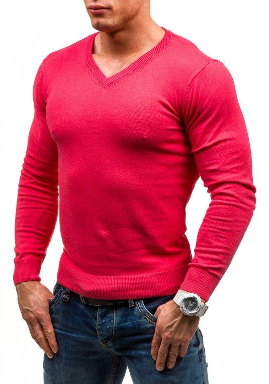 Růžový pánský svetr s výstřihem do V Bolf 1818 v akci! de3308123c