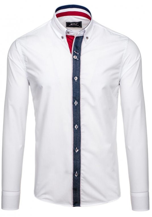 Pánská bílá elegantní košile s dlouhým rukávem Bolf 6912 v akci! b2b9b1df8d