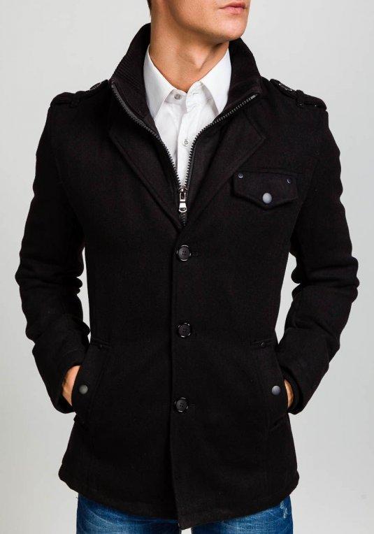 Černý pánský kabát Bolf 8853B v akci! d728bc486b7