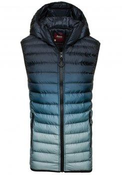 Tmavě modro-šedá pánská prošívaná vesta s kapucí Bolf 4392 e015f04e76