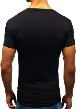 4253aec05da Černé pánské tričko bez potisku Bolf 2005