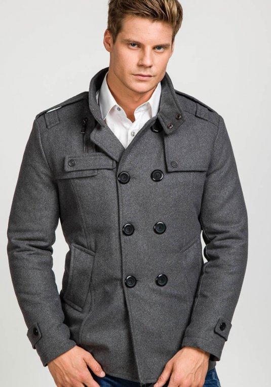 Šedý pánský kabát Bolf 8357A v akci! 33d99928715
