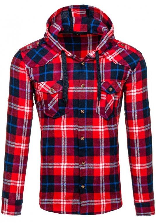 118f01606de Červená pánská flanelová košile s dlouhým rukávem Bolf 2500 v akci!